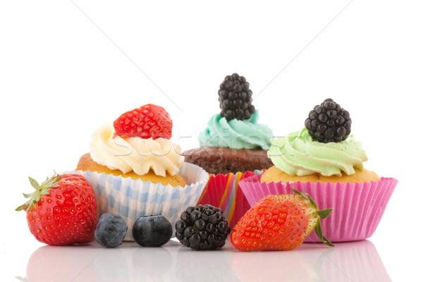 Eper minitorták friss gyümölcs minitorta vajkrém izolált Stock fotó © ivonnewierink