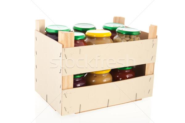 Fából készült láda megőrzött zöldségek üveg izolált Stock fotó © ivonnewierink