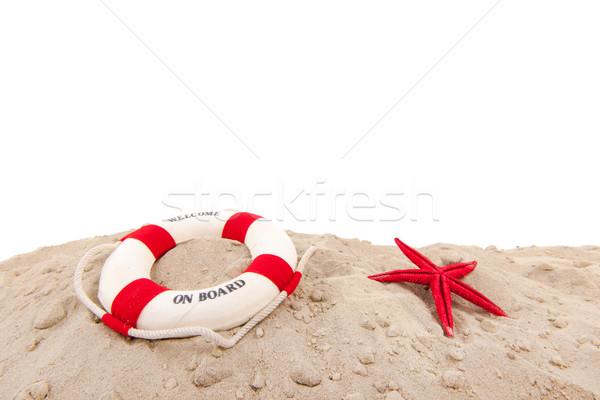 Salvagente spiaggia benvenuto bordo sfondo barca Foto d'archivio © ivonnewierink