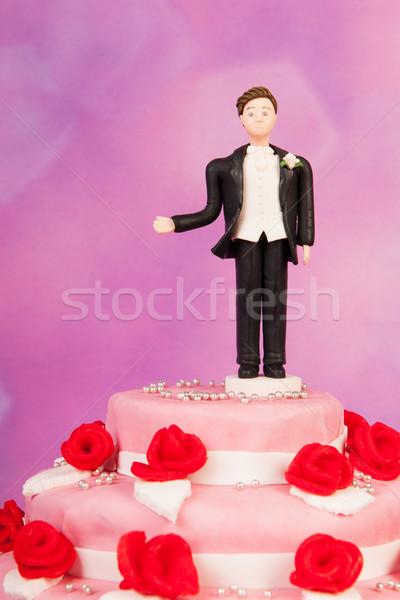 Boşanmış adam heykelcik tek başına düğün pastası sevmek Stok fotoğraf © ivonnewierink