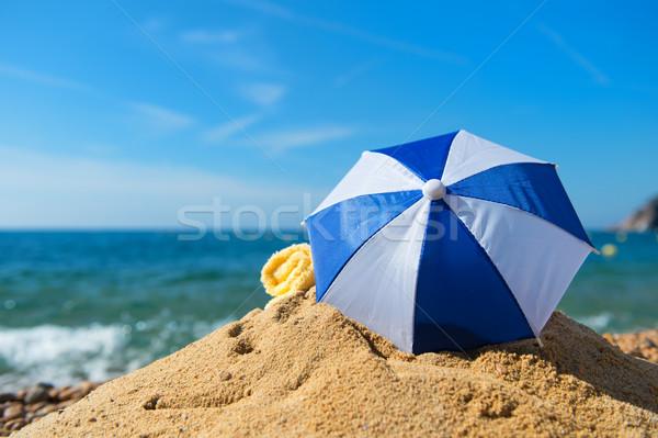 Güneş şemsiyesi plaj tatil yaz deniz sörf Stok fotoğraf © ivonnewierink