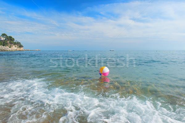 Strandbal zee kleurrijk opblaasbare spelen surfen Stockfoto © ivonnewierink