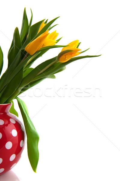 Vase with yellow tulips Stock photo © ivonnewierink