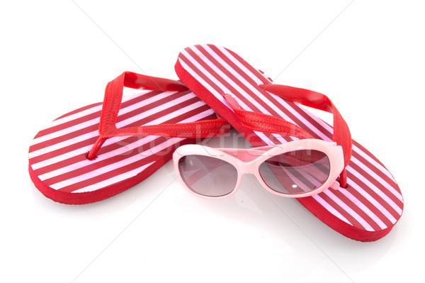 Szabadidő nyár szandál napszemüveg piros szabadidő Stock fotó © ivonnewierink
