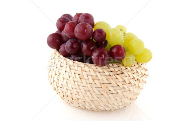 Stock fotó: Friss · piros · fehér · szőlő · vízcseppek · izolált