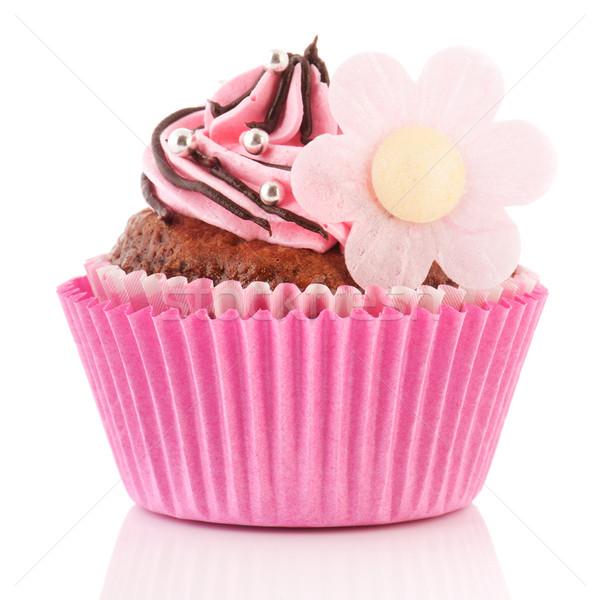 Csokoládé minitorta virág rózsaszín vajkrém dekoráció Stock fotó © ivonnewierink