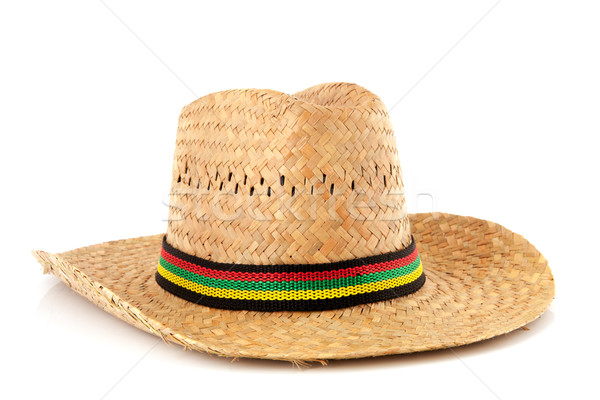 Straw hat with colorful ribbon Stock photo © ivonnewierink