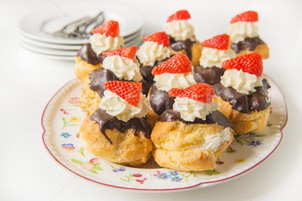 Birthday pastry with fresh fruit Stock photo © ivonnewierink