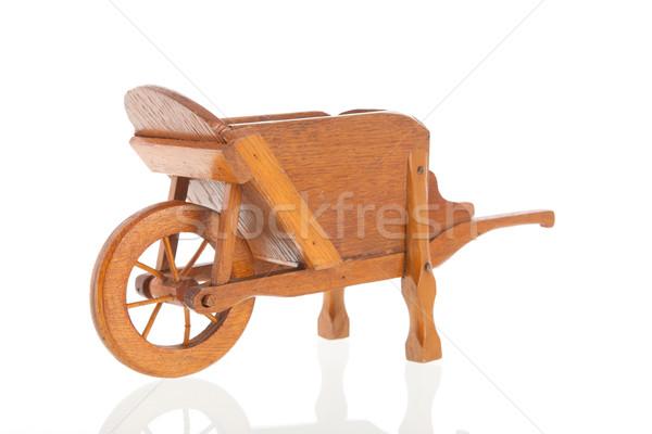 Fából készült talicska klasszikus izolált fehér háttér Stock fotó © ivonnewierink