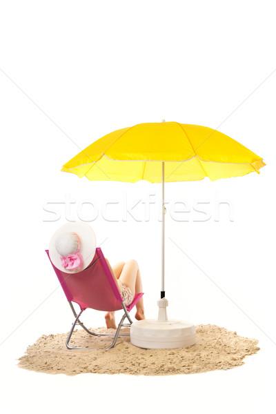 Nyugalmas tengerpart nő szék rózsaszín citromsárga Stock fotó © ivonnewierink