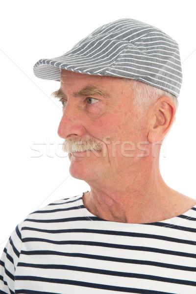 Portré nyugdíjas férfi bajusz francia sapka Stock fotó © ivonnewierink