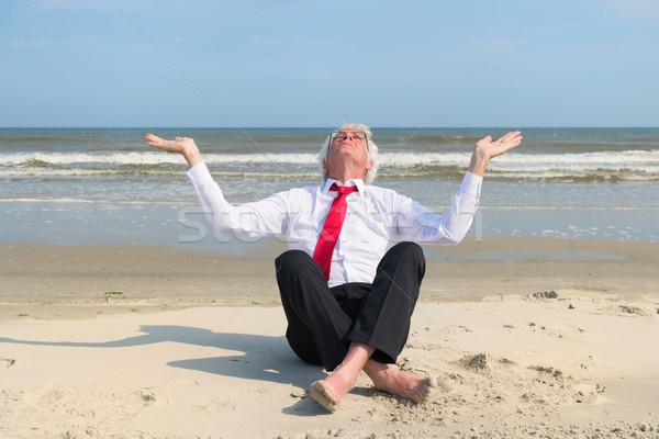 Idős üzletember meditáció tengerpart ül természet Stock fotó © ivonnewierink