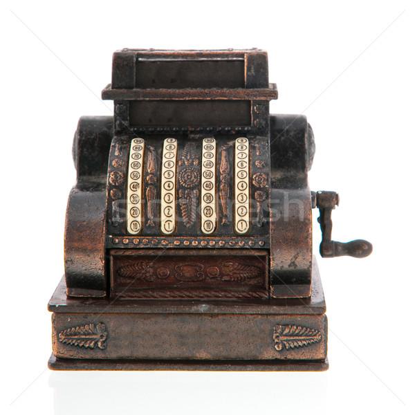 Foto stock: Caixa · registradora · cobre · antigo · isolado · branco · secretária