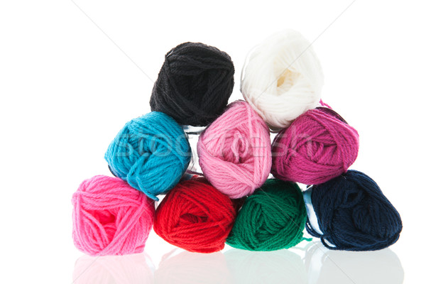Kleurrijk wol geïsoleerd werk Stockfoto © ivonnewierink