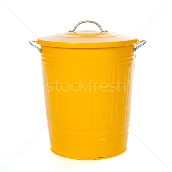 Amarelo cesto de lixo isolado branco estúdio recipiente Foto stock © ivonnewierink