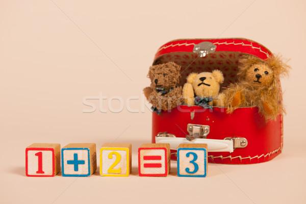 Medvék összeg kockák iskola játékok klasszikus Stock fotó © ivonnewierink