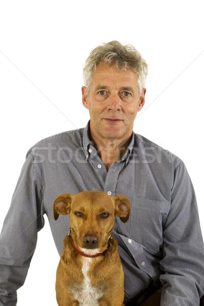 senior man with his dog Stock photo © ivonnewierink