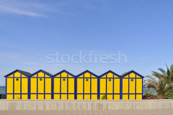 Beach cabins Stock photo © ivonnewierink