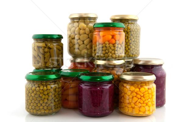 Megőrzött zöldségek üveg piros üvegek bab Stock fotó © ivonnewierink
