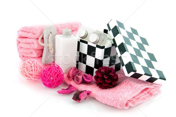 Szépségipari termékek anya fürdőkád test rózsaszín Stock fotó © ivonnewierink