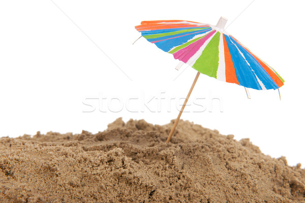 Renkli güneş şemsiyesi plaj kum Stok fotoğraf © ivonnewierink