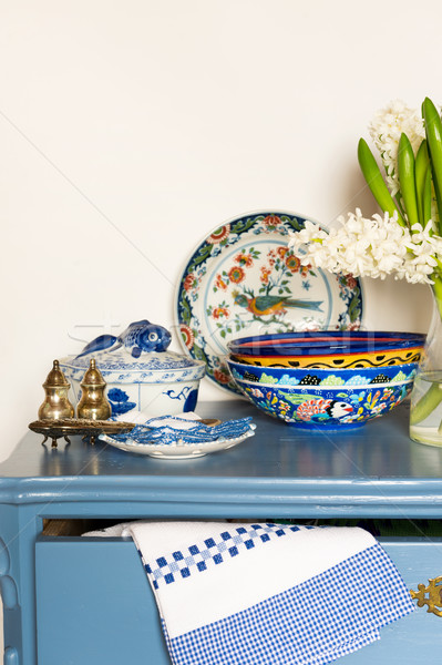 Lavender colored cabinet with antique Stock photo © ivonnewierink