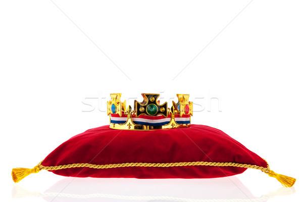 Dourado coroa veludo travesseiro holandês bandeira Foto stock © ivonnewierink