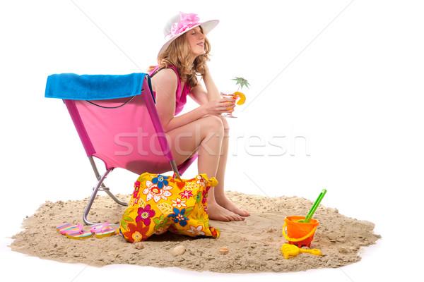 Stockfoto: Vrouw · stoel · strand · roze · geïsoleerd · witte