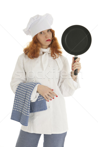 Female cook chef with frying pan Stock photo © ivonnewierink