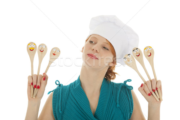 Funny as cook woman with spoons Stock photo © ivonnewierink
