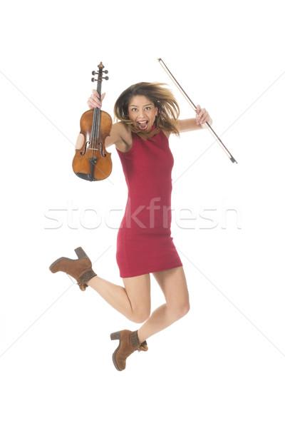 Saltar alto violín música instrumento Foto stock © ivonnewierink