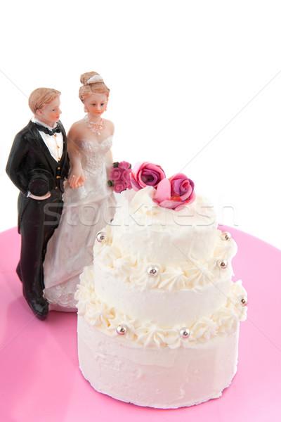 Esküvő pár esküvői torta rózsák férfi piros Stock fotó © ivonnewierink