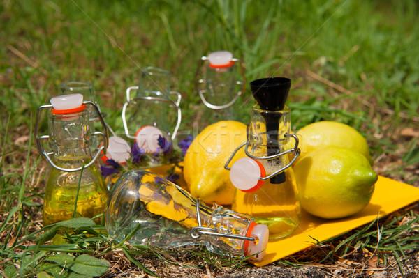 Stockfoto: Limonade · vruchten · citroen · weinig · flessen