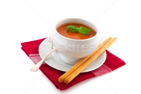 Zupa pomidorowa biały puchar zupa tle Zdjęcia stock © ivonnewierink