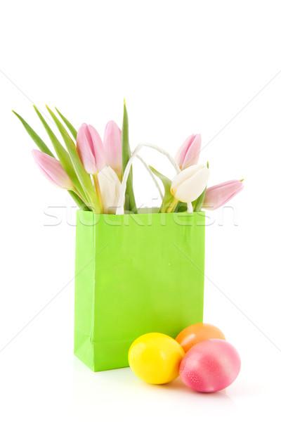 イースターエッグ チューリップ 紙袋 花束 緑 ストックフォト © ivonnewierink