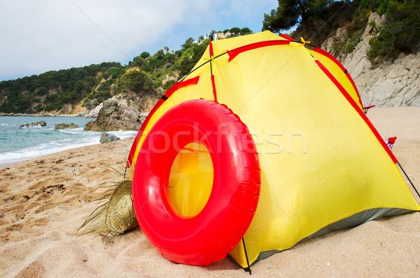 Plaj barınak İspanyolca sahil su deniz Stok fotoğraf © ivonnewierink