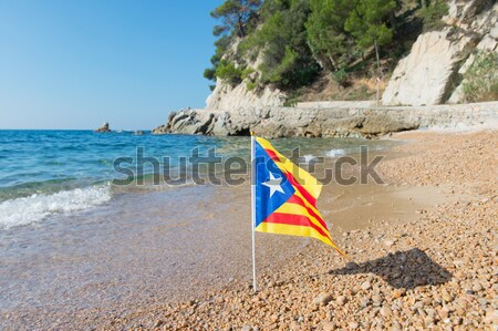 Flag Catalonia at beach Stock photo © ivonnewierink