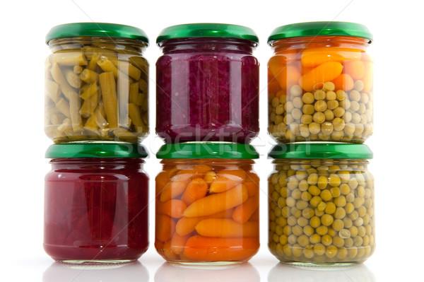 Megőrzött zöldségek üveg zöld piros üvegek Stock fotó © ivonnewierink