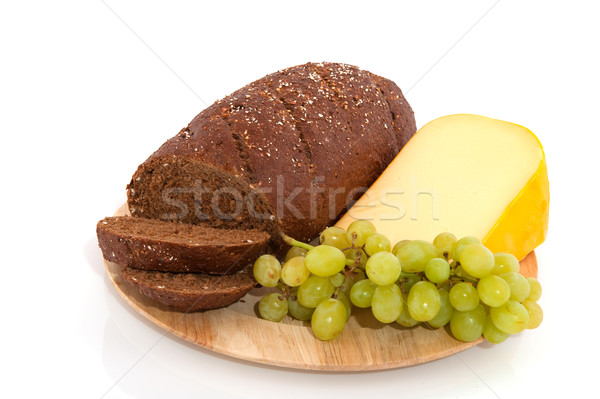 whole meal bread grapes and cheese Stock photo © ivonnewierink
