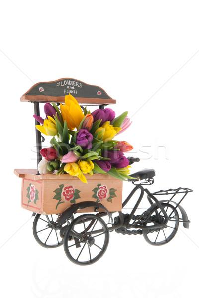 Foto stock: Mercado · coche · flores · venta · primavera · rojo