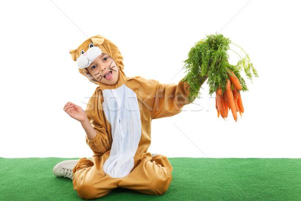 ребенка Пасху заяц морковь изолированный Сток-фото © ivonnewierink