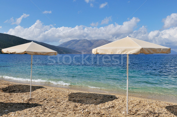landscape with  beach and parasols Stock photo © ivonnewierink