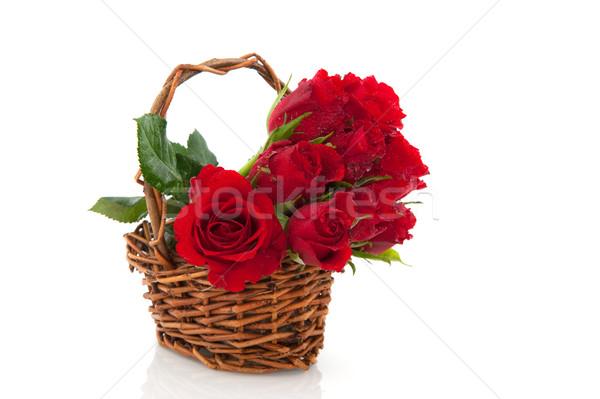 basket red roses Stock photo © ivonnewierink