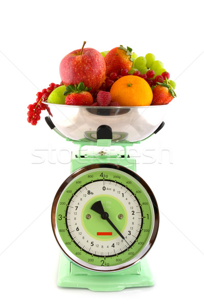 Scale with fruit for diet Stock photo © ivonnewierink