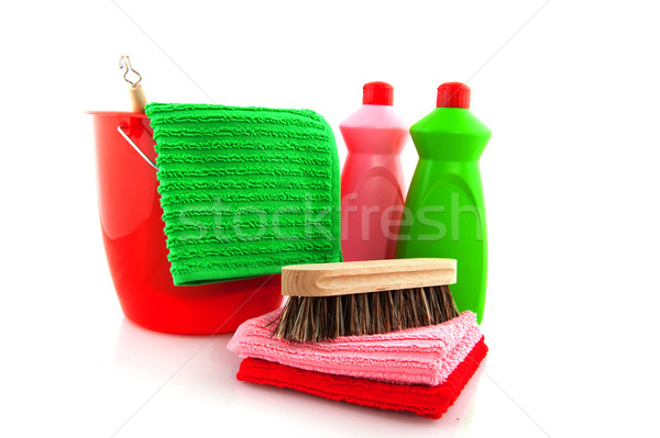 cleaning products with red bucket Stock photo © ivonnewierink