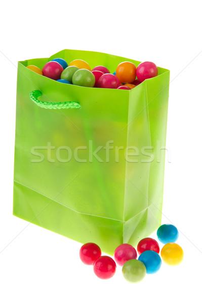 Zöld táska rág íny golyók tele Stock fotó © ivonnewierink