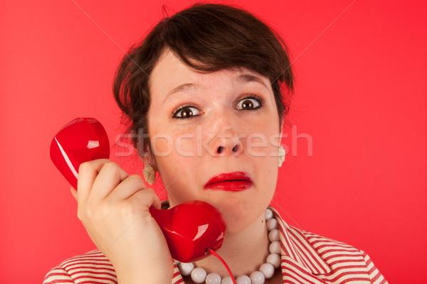 女性 悲しい 泣い 顔 電話 ストックフォト © ivonnewierink