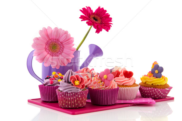 Colorful cupcakes with flowers Stock photo © ivonnewierink