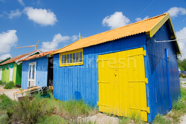 Colorful wooden cabins Stock photo © ivonnewierink