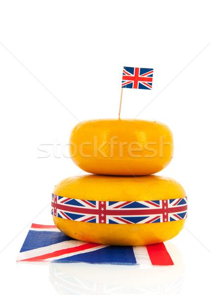 Cheddar sajt angol brit zászló szalag Stock fotó © ivonnewierink